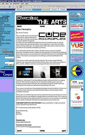 UWE Cube Article